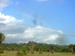 I saw a rainbow while walking to town.