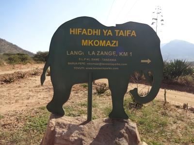 Follow the green elephant to Zange gate.