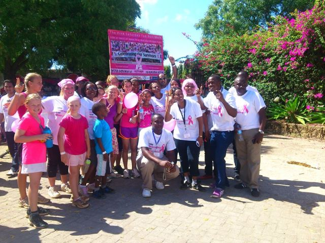 Some of the supporters posed in a group photo after the walk/run