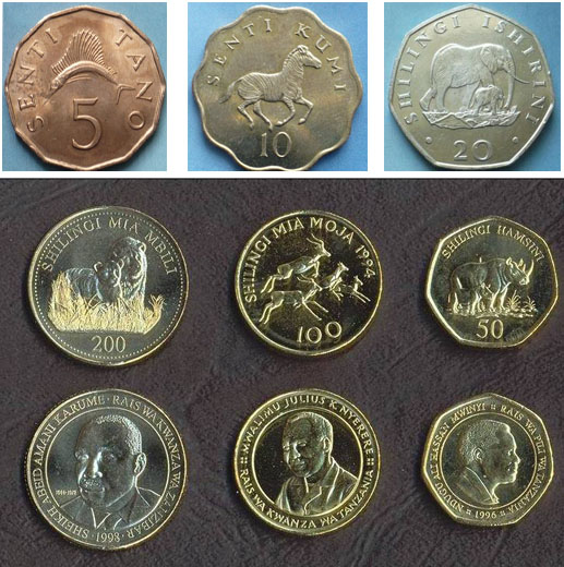 Some of Tanzanian coins; old and current