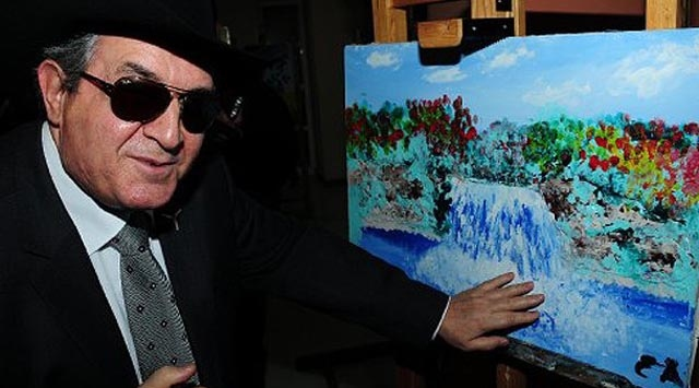 Eşref Armağan - is a born blind artist. I don't know how he knows where to put the trees and what colour the sky is.